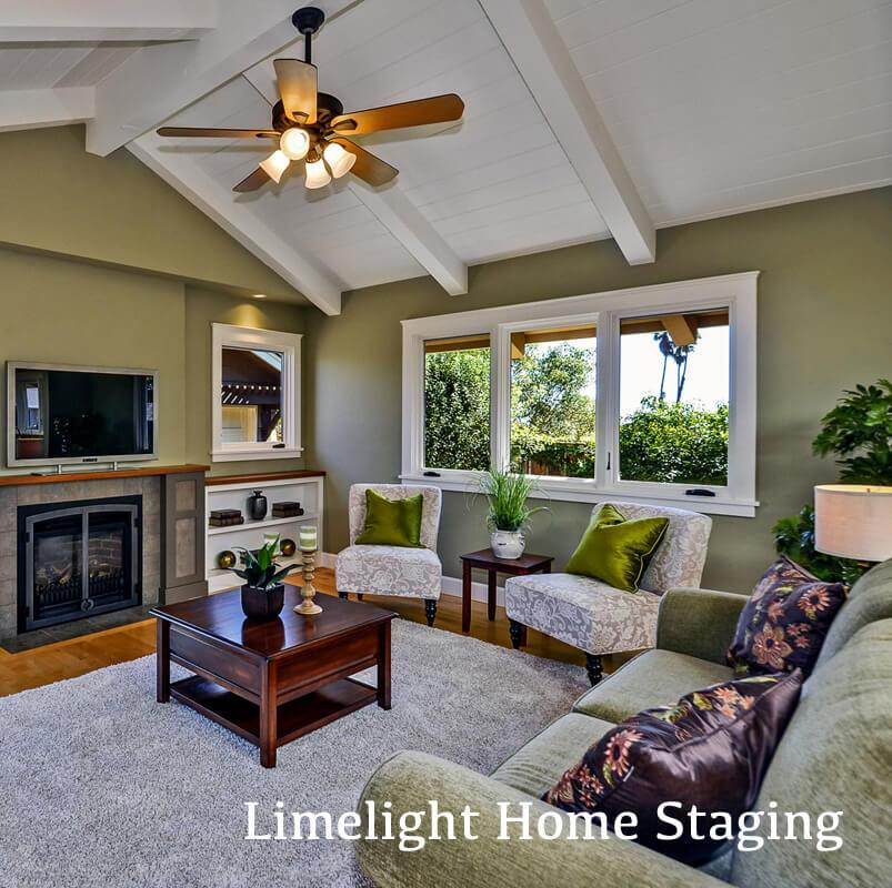 Home Staged by Limelight Home Staging that maximizes floor space in a tight living room